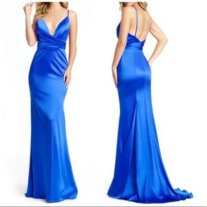 MAC DUGGAL Blue Faux Wrap Trumpet Gown Size 8